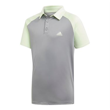 adidas Boys Club Polo - Glow Green/Grey Heather