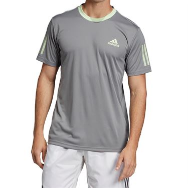 adidas Club 3 Stripe Crew - Grey Heather/Glow Green