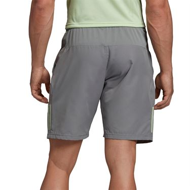 adidas Club 3 Stripe Short - Grey Heather/Glow Green