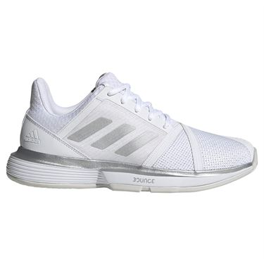adidas Court Jam Bounce Wide Womens Tennis Shoe - White/Matte Silver/Grey One