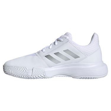 adidas Court Jam Junior Tennis Shoe - White/Sliver Metallic/Tech Ink