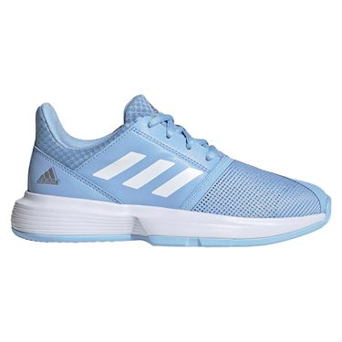 adidas Court Jam Junior Tennis Shoe - Glow Blue/White/Silver Metallic