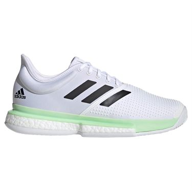 adidas Sole Court Boost Mens Tennis Shoe - White/Core Black/Glow Green