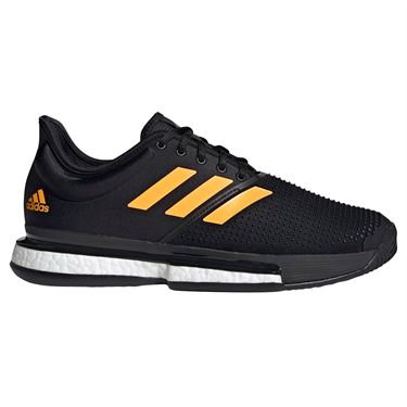 adidas Sole Court Boost Mens Tennis Shoe - Core Black/Flash Orange/Carbon