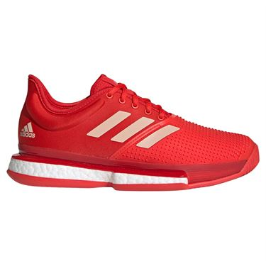 adidas Sole Court Boost Womens Tennis Shoe - Active Red/Soft Powder/Scarlet