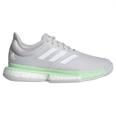 adidas Sole Court Boost Womens Tennis Shoe - Glow Green/White/Grey One