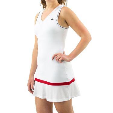 Lacoste Robe Dress Womens White/Ruby/Navy Blue EF9499 4HK