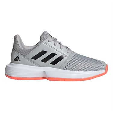 adidas Court Jam Junior Tennis Shoe Grey Two/Core Black/Signal Coral EH1102