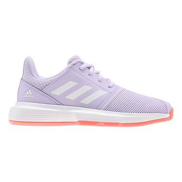 adidas Court Jam Junior Tennis Shoe Purple Tint/White/Signal Coral EH1103