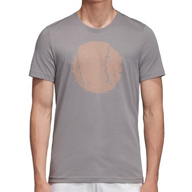 adidas Flushing Graphic Tee Shirt Mens Grey Three EJ6336