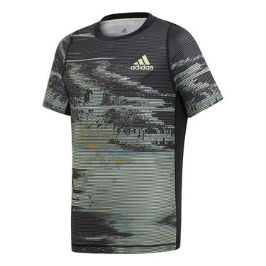 adidas Boys NY Graphic Tee - Black/Grey Three/Flash Orange/Glow Green