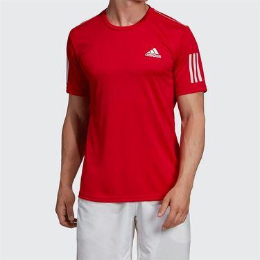 adidas Club 3 Stripe Crew - Scarlet