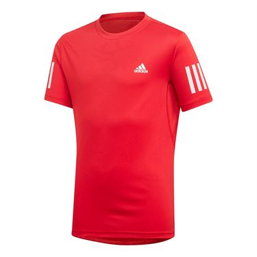 adidas Boys Club 3 Stripe Crew - Scarlet