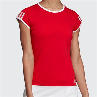 adidas Club 3 Stripe Top - Scarlet