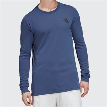 adidas Long Sleeve Tee Shirt Mens Tech Indigo/Night Metallic FK0808