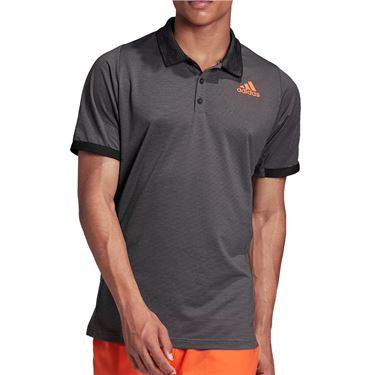 adidas Primeblue Polo Shirt Mens Grey Six/True Orange FK0813