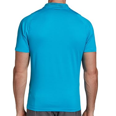 adidas Primeblue Polo Shirt Mens Sharp Blue/Grey Six FK0815