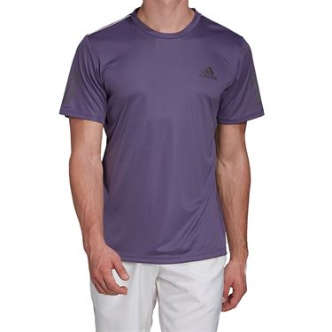 adidas Club 3 Stripe Tee Shirt Mens Tech Purple/Grey Six FK6955