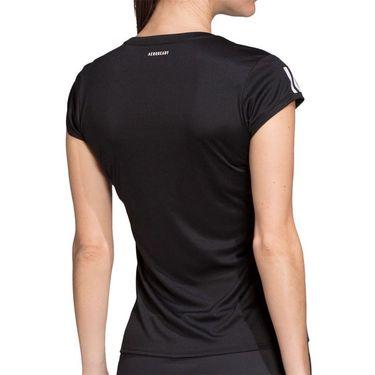 adidas Club 3 Stripe Tee Shirt Womens Black/Matte Silver/White FK6972