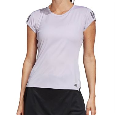 adidas Club 3 Stripe Tee Shirt Womens Purple Tint/Grey Six FK6973