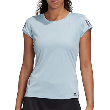 adidas Club 3 Stripe Tee Shirt Womens Easy Blue/Grey Six FK6974