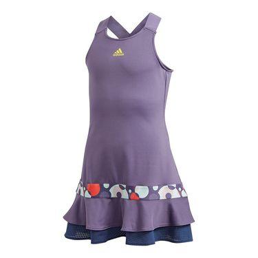 adidas Girls Frill Dress Tech Purple/Shock Yellow FK7140