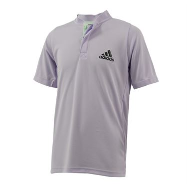 adidas Boys Henley Collar Polo Shirt Purple Tint/Legend Earth FK7142