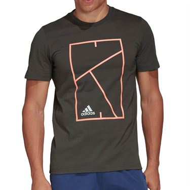 adidas Court Tee Shirt Mens Legend Earth FM4415