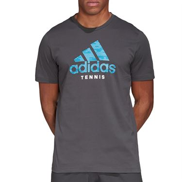 adidas Logo Tee Shirt Mens Grey Six FM4417