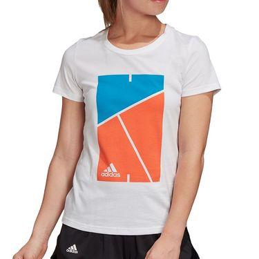 adidas Court Tee Shirt Womens White FM4424