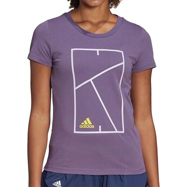 adidas Court Tee Shirt Womens Tech Purple FM4425