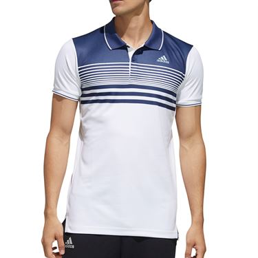 adidas Polo Mens White/Tech Indigo FN1452