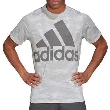 adidas Primeblue Logo Tee Shirt Mens Grey Two/Grey Four FP7958