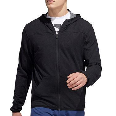 adidas City Studio Fleece Full Zip Hoodie Mens Black FS4102
