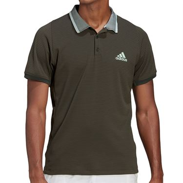 adidas Freelift Polo Shirt Mens Legend Earth/Green Tint FT6110
