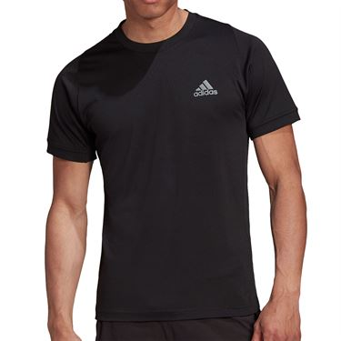 adidas Tennis Freelift T-Shirt Mens Black/Grey FT6115
