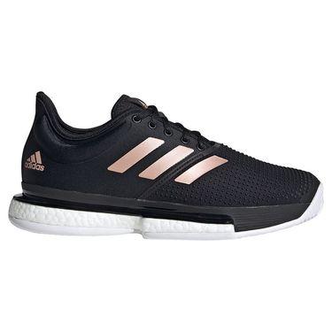 adidas SoleCourt Womens Tennis Shoe Core Black/White/Copper Metallic FU8133
