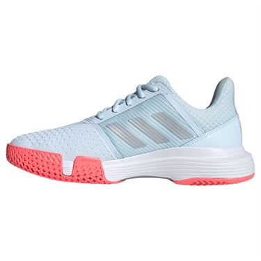 adidas CourtJam Bounce Womens Tennis Shoe Sky Tint/Silver Metallic/Signal Pink FU8146