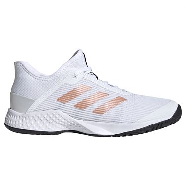 adidas Adizero Club Womens Tennis Shoes White/Copper Met/Core Black FU8150