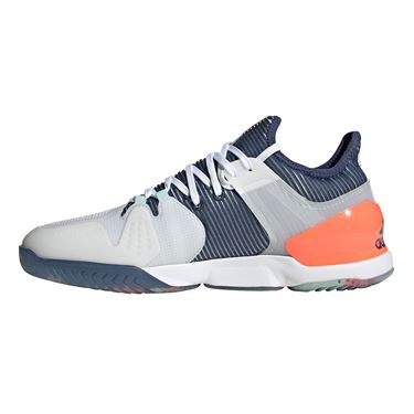 adidas Adizero Ubersonic 2 Mens Tennis Shoe White/Tech Indigo/Signal Coral FU9468