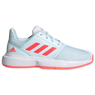 adidas CourtJam Junior Tennis Shoes Sky Tint/Signal Pink/White FV4124