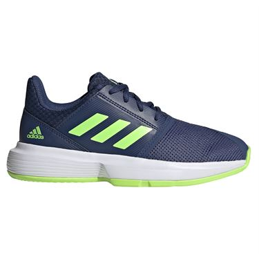 adidas CourtJam Junior Tennis Shoes Tech Indigo/Signal Green FV4125