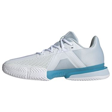 adidas SoleMatch Bounce Mens Tennis Shoe White/Core Black/Halo Blue FX1732