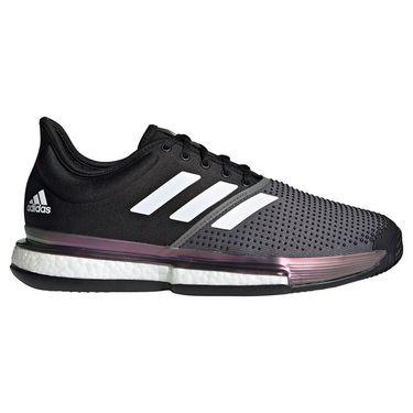 adidas SoleCourt Clay Primeblue Mens Tennis Shoe Core Black/White/Grey Five FZ1966