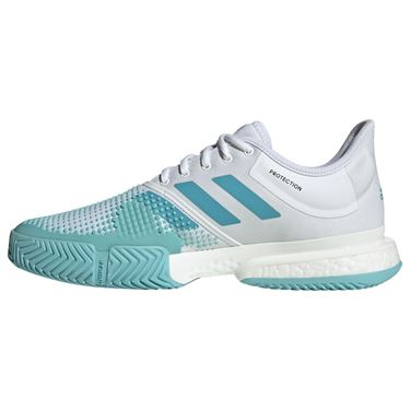 adidas Sole Court Boost Parley Mens Tennis Shoe - White/Vapour Blue/Blue Spirit