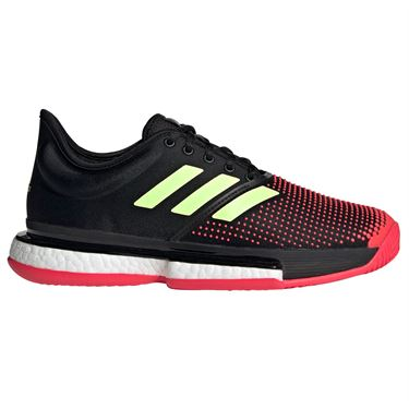 adidas Sole Court Boost Womens Tennis Shoe - Core Black/Hi Res Yellow/Shock Red