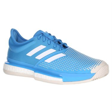 adidas Sole Court Boost Clay Womens Tennis Shoe - Shock Cyan/White
