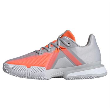 adidas Sole Match Bounce Womens Tennis Shoe - Light Grey/Hi Res Coral