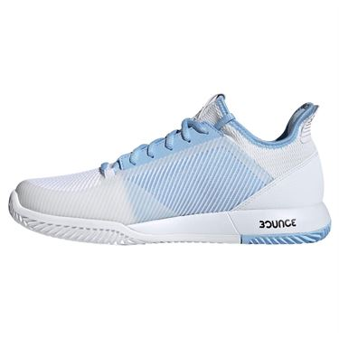 adidas adizero Defiant Bounce 2 Womens Tennis Shoe - White/Glow Blue