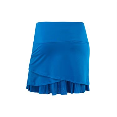 Lucky in Love Boho Sense Scallop Pleated Golf Skirt Long - Paradise Blue